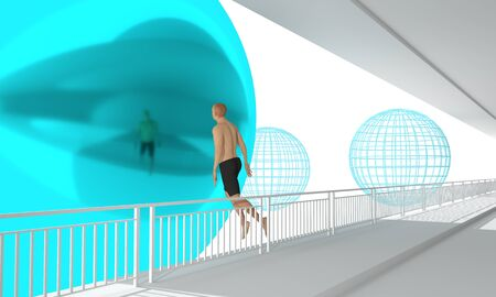 Man jumping from abstract bridge to reflected sphere. 3D rendering