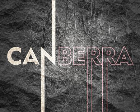 Image relative to Australia travel theme. Canberra city name in geometry style design. Creative vintage typography poster concept. Imagens