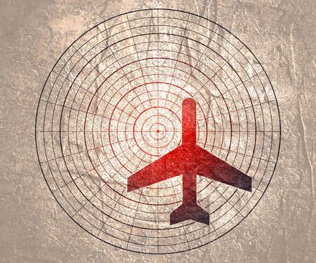 Airplane silhouette on radar screen. Concept of aviation technology Imagens