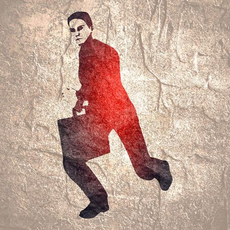 Businessman running with briefcase. Abstract illustration. Modern lifestyle metaphor Imagens