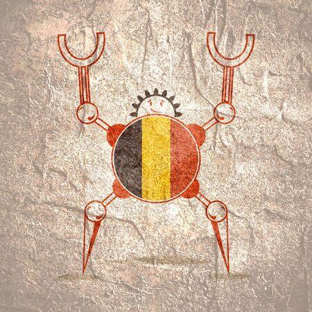 Cute vintage robot. Robotics industry relative image. Cartoon person. Flag of the Belgium Imagens