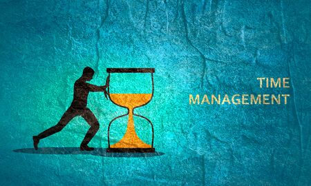 Time management planning and control concept for efficient successful and profitable business. Flat composition poster illustration. Businessman pushing hourglass Stock fotó