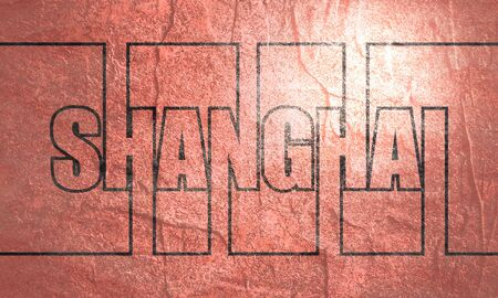 Shanghai city name in geometry style design. Creative vintage typography poster concept. Stock fotó