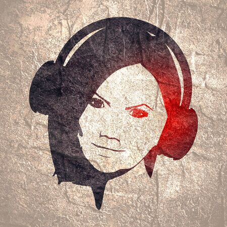 Silhouettes of the woman wearing a headphones.