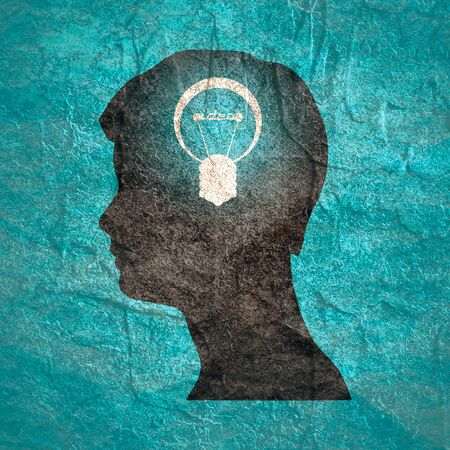 Lamp in the head of a person. Lamp head businessman. Illustration of brainwork, idea appearance. Switch on bulb icon with idea text.