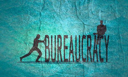 Businessmen stopped by bureaucrat . Bureaucracy concept. Flat illustration Stock Photo