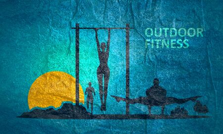 Woman on horizontal bar and mountains. Sunrise landscape. Sport and recreation concept. Outdoor fitness text