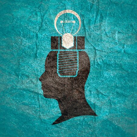 Screw and lamp in the head of a person. Lamp head businessman. Illustration of brainwork, idea appearance. Switch on bulb icon with idea text.