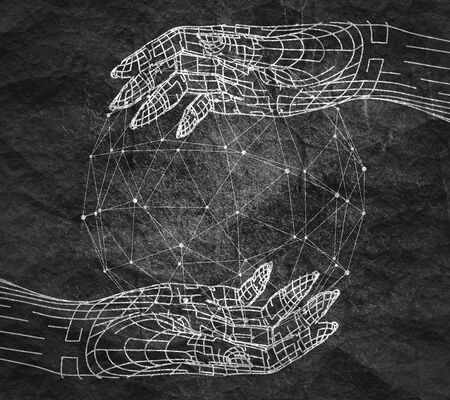 Polygonal hands and sphere. Wire frame style. 3d human parts. Connected lines with dots. Reklamní fotografie