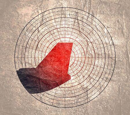 The image of an airplane tail. Radar display.