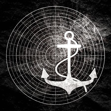 Sea travel, industry and journey concept. Anchor on radar display