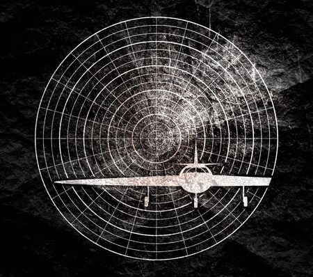 Airplane silhouette on radar screen. Concept of aviation technology Stock Photo