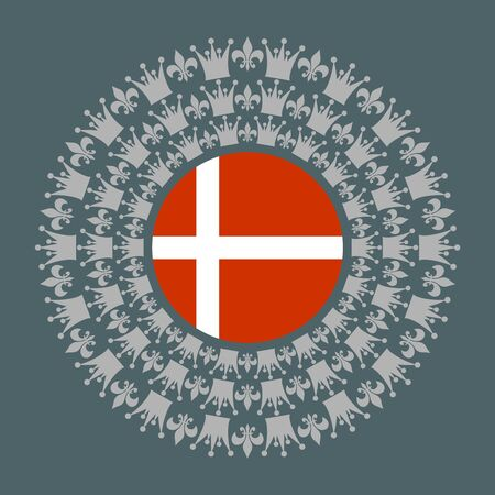 Decorative design element. Pattern with crown and royal lily. Circular ornamental symbol. Flag of the Denmark Stock fotó