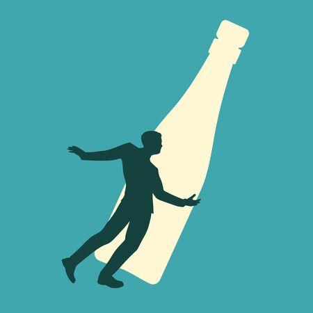 Man huge bottle of alcohol. Unhealthy addiction metaphor.  イラスト・ベクター素材