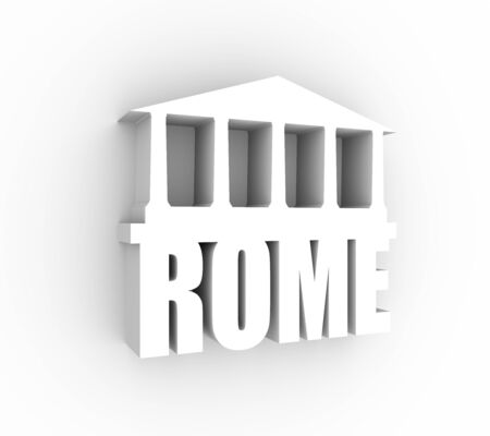 Travel template. Rome city name text with ancient temple silhouette. 3D rendering.