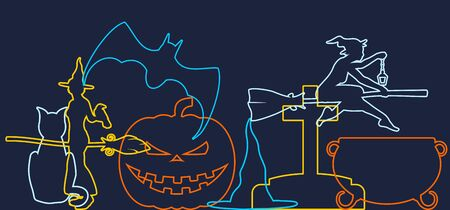 Halloween banner concept. Witchcraft relative theme. Outline silhouettes