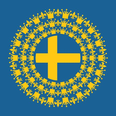 Decorative design element. Pattern with crown and royal lily. Circular ornamental symbol. Flag of the Sweden