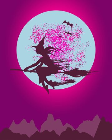 Mountains silhouette. Halloween illustration. Outdoor icon of the mountain tops. Flying witch silhouette.