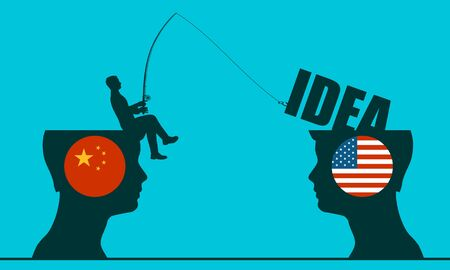 One businessman steal the idea from another. Commercial spying concept. National flags of USA and China