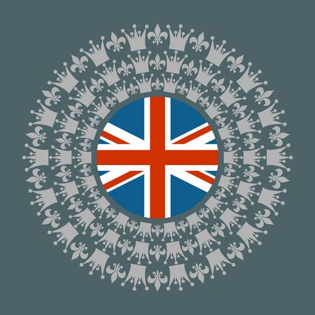 Decorative design element. Pattern with crown and royal lily. Circular ornamental symbol. Flag of the UK 일러스트