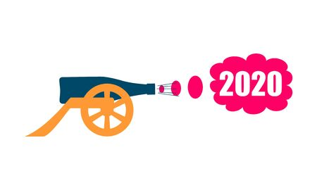 Ancient wine bottle cannon silhouette. Beginning of celebration. 2020 year number Ilustração