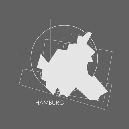 Image relative to Germany travel. Hamburg city map with abstract geometry shapes and lines Stok Fotoğraf - 131495315