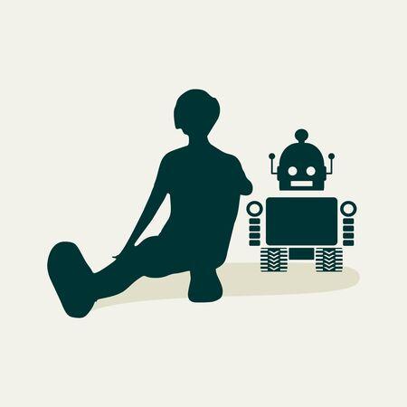 Human and robot relationships. Robotics industry relative image.