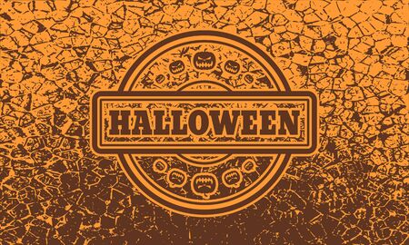 Stamp with Halloween text and pumpkins icons on cracked grunge background Çizim