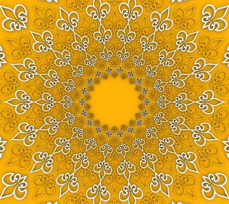Decorative design element. Pattern with royal lily. Circular ornamental symbol. 3D rendering.