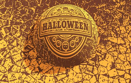 Stamp with Halloween text and pumpkins icons on cracked grunge background. 3D rendering. Stock Photo