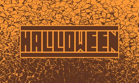 Halloween text calligraphy. Word on cracked grunge background