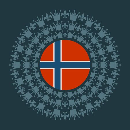 Decorative design element. Pattern with crown and royal lily. Circular ornamental symbol. Flag of the Norway Фото со стока - 131912169