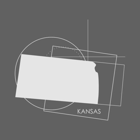 Image relative to USA travel. Kansas state map with abstract geometry shapes and lines Illustration