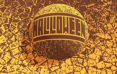 Stamp with Halloween text and pumpkins icons on cracked grunge background. 3D rendering. Stock fotó