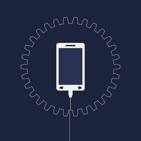Smart phone and gear icons. Mobile gadgets technology relative image. Service and repair.