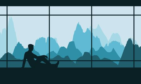 Man resting by the window with a view of the mountains.