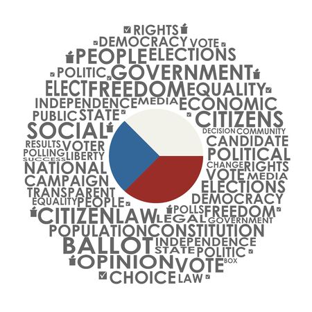Words cloud relative for voting. Circle frame. Flag of the Czech Illusztráció