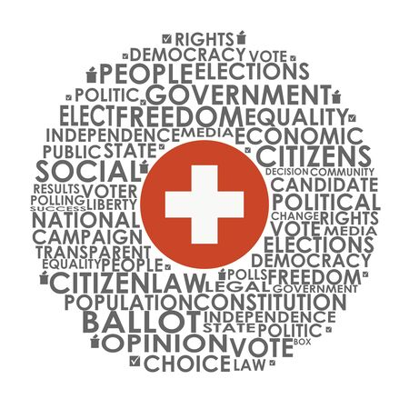 Words cloud relative for voting. Circle frame. Flag of the Switzerland Illusztráció