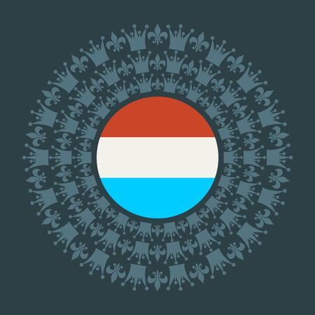Decorative design element. Pattern with crown and royal lily. Circular ornamental symbol. Flag of the Luxembourg