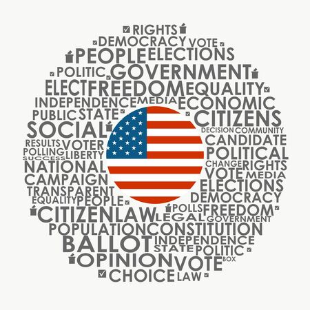 Words cloud relative for voting. Circle frame. Flag of the USA