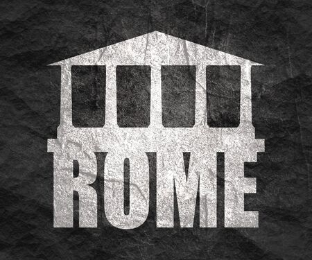 Travel template. Rome city name text with ancient temple silhouette Archivio Fotografico - 132667065