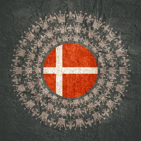 Decorative design element. Pattern with crown and royal lily. Circular ornamental symbol. Flag of the Denmark