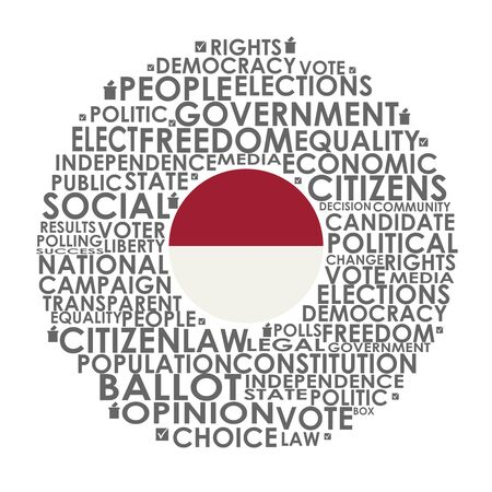 Words cloud relative for voting. Circle frame. Flag of the Indonesia