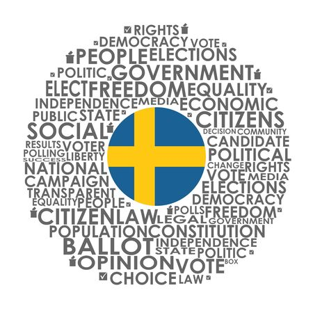 Words cloud relative for voting. Circle frame. Flag of the Sweden Stock fotó