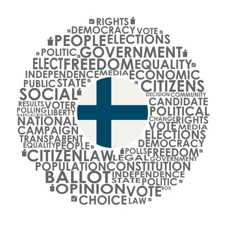 Words cloud relative for voting. Circle frame. Flag of the Finland