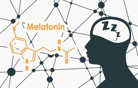 Chemiczny wzór molekularny hormonu melatoniny. Synchronizacja rytmu dobowego. Stylizowana konwencjonalna formuła szkieletowa. Połączone linie z kropkami w tle. Sylwetka głowy mężczyzny