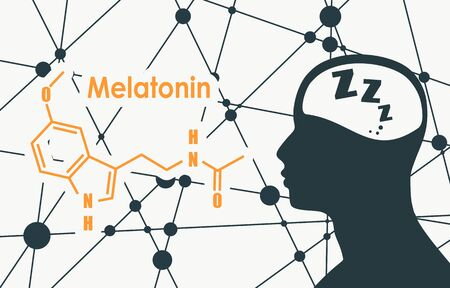 Melatonin hormone chemical molecular formula. Circadian rhythm synchronization. Stylized conventional skeletal formula. Connected lines with dots background. Silhouette of a man head Иллюстрация