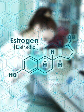Chemical molecular formula hormone estrogen. Infographics illustration.