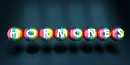 Hormones word written on striped spheres. 3D rendering