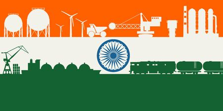 Energy and power icons set on India flag backdrop. Header or footer banner. Sustainable energy generation, transportation and heavy industry. Çizim